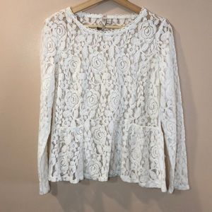 LC Lauren Conrad Runway White Lace Blouse